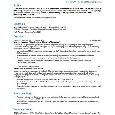 entry level resume exles and writing tips marketing resume tips 28 images marketing resume tips