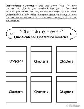 chocolate fever book report chocolate fever interactive notebook novel unit study