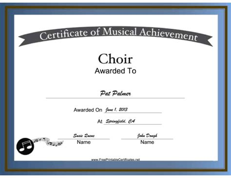 Free Printable Choir Certificates Choir Vocal Music Certificate Choir Pinterest Choir Choir Budget Template