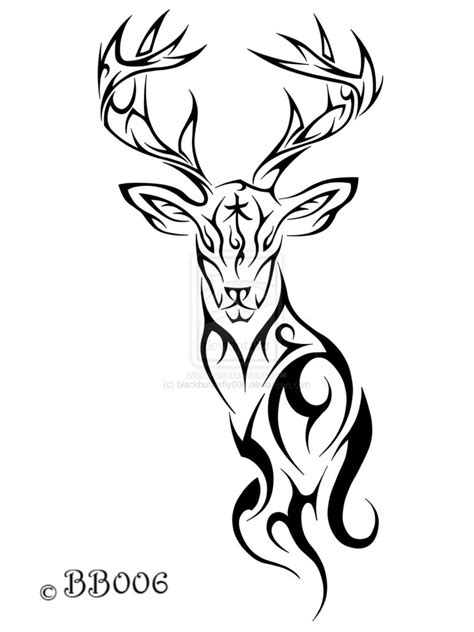 tribal deer head tattoos tribal deer by blackbutterfly006 on deviantart