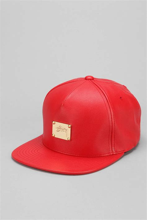 Topi Hats Stussy 1 lyst stussy fauxleather snapback hat in for
