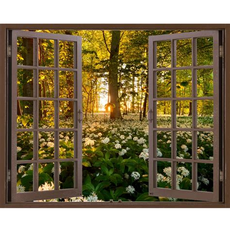 fabric murals for walls window frame mural garlic forest size peel