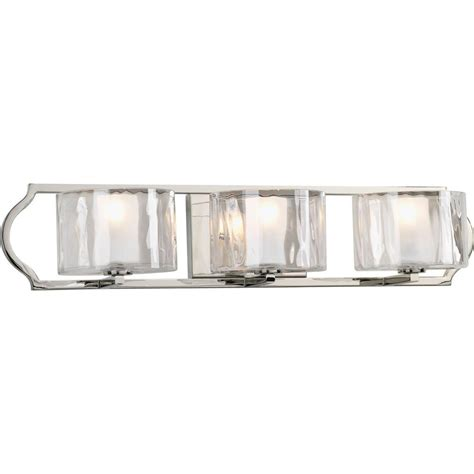 3 Light Bathroom Fixtures Progress Lighting Caress Collection 3 Light Polished Nickel Bath Light P3077 104wb The Home Depot