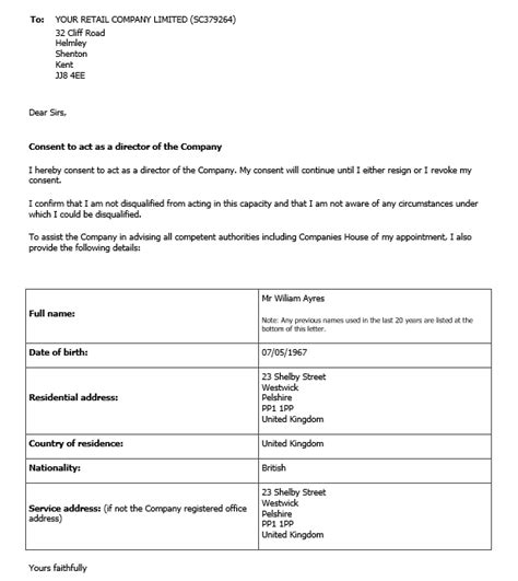 consent letter format of director to act as director company records document storage inform direct uk