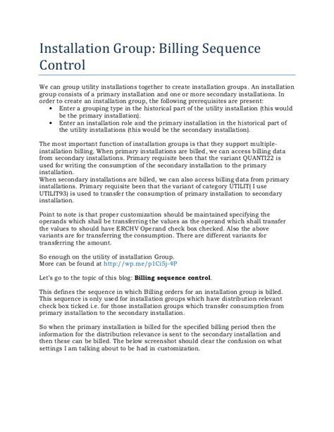 sap isu installation groups billing sequence