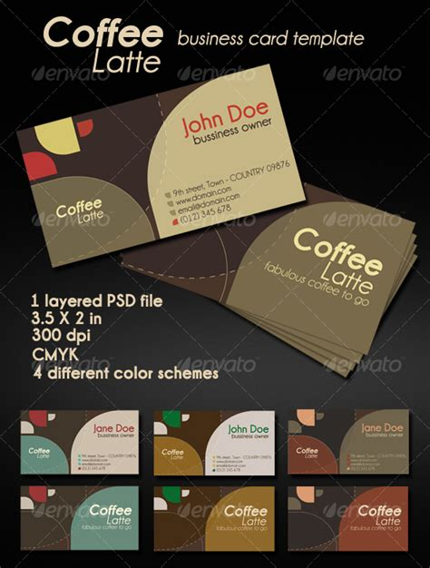 Coffee Shop Business Card Template by Coffee Latte Card By Graphicidentity Graphicriver