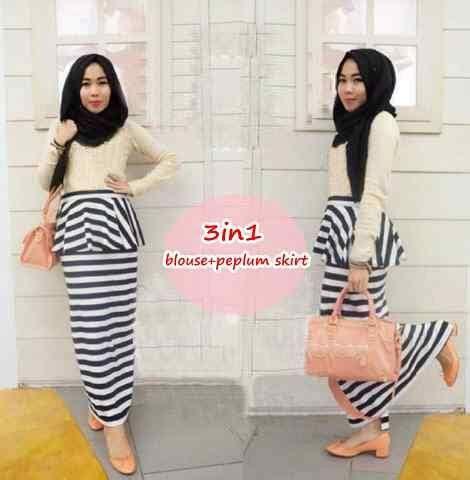 Pakaian Muslim Murah Baju Muslim Pink Peplum Tribal Set 3in1 baju muslim wanita modern quot setelan skirt belang quot murah