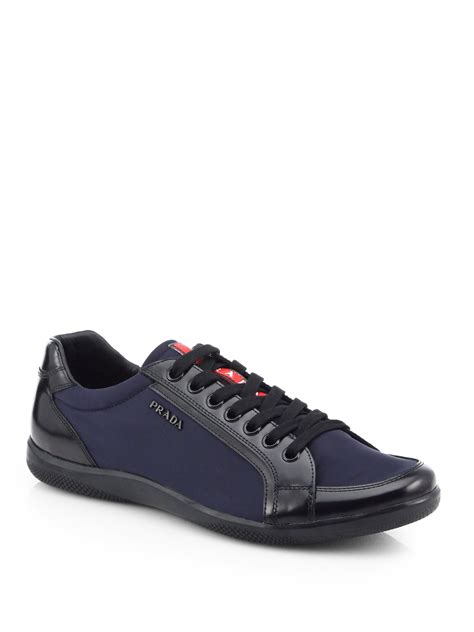 prada sneakers for prada leather laceup sneakers in blue for lyst