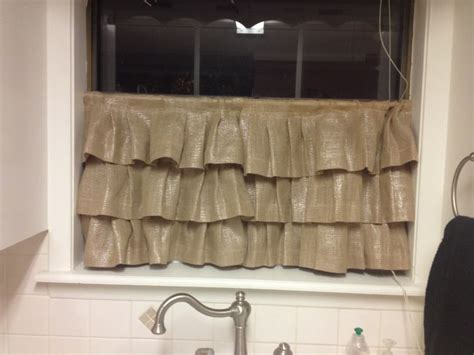burlap cafe curtains ruffled metallic burlap cafe curtains for the kitchen