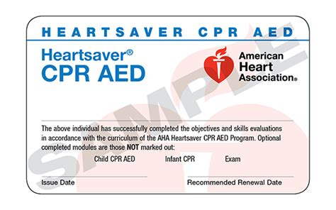 cpr card template which aha class do i need american association