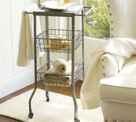 pottery barn bathroom storage galvanized metal floor storage pottery barn