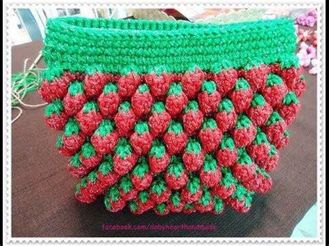 Dompet Gaby crochet tutorial merajut dompet motif stroberi inner