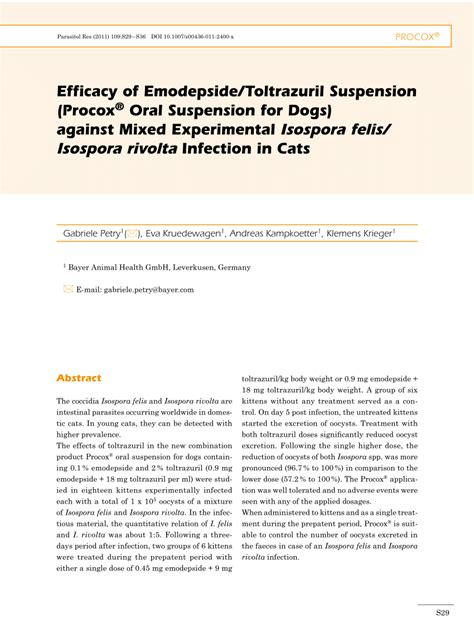 toltrazuril for puppies efficacy of emodepside toltrazuril suspension procox 174 suspension for dogs