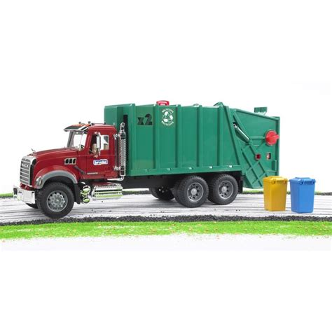 bruder garbage truck bruder mack granite green red toy garbage truck