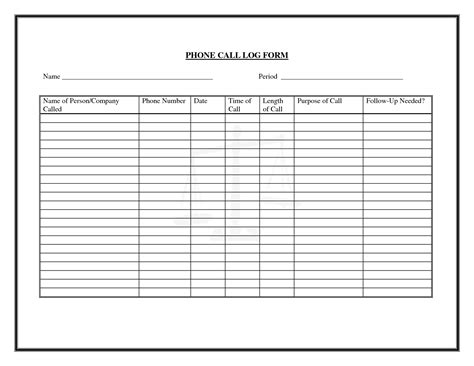 9 best images of free printable phone log form free