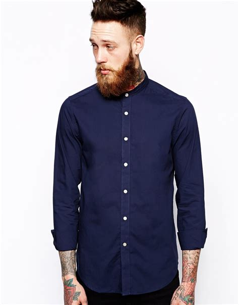Grandad With List Soft Blue asos smart shirt in sleeve with grandad collar in soft handle cotton in blue for lyst