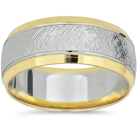 Handmade White Gold Rings - 14k yellow gold two tone wedding band mens 8mm white gold