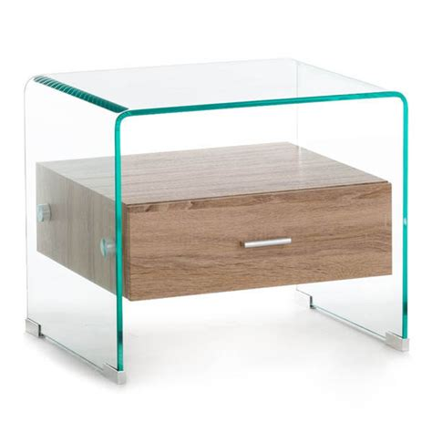 comodino vetro comodino moderno in vetro trasparente e cassetto in legno