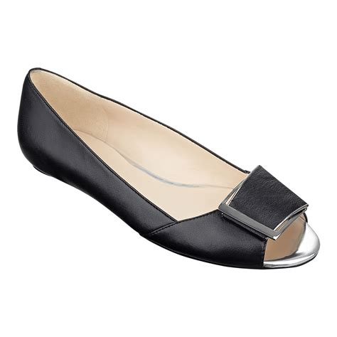 peep toe flat shoes nine west baybrynne peep toe flat in black black leather