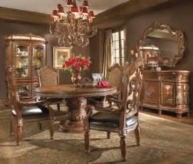 Michael Amini Dining Room Set by Michael Amini Villa Valencia Chestnut Traditional Round