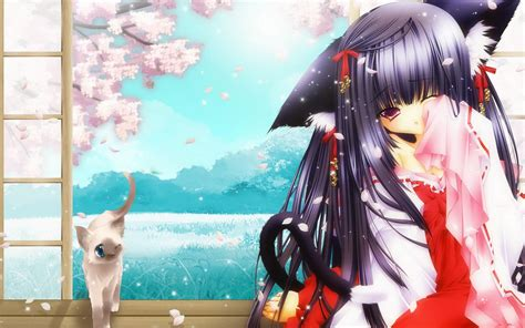 wallpaper anime cat girl and cat wallpapers and images wallpapers pictures