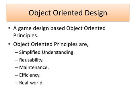 object oriented design principles unit 71 object oriented design for computer games