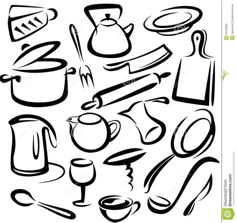 Big Set Of Kitchen Tools, Sketch Stock Vector   Image