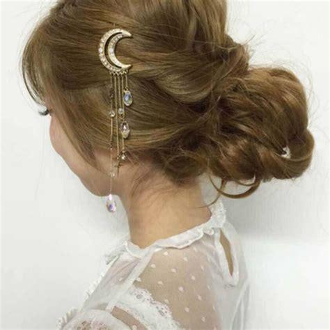 02958 Hair Clip Hairclip moon tassel hair clip the enchanted forest
