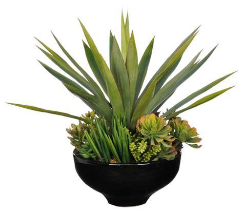large artificial indoor plants flowers trees yukka artificial yucca succulent garden in large black ceramic