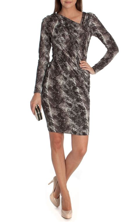 black and white patterned jersey dress black and white animal print long sleeve jersey dress