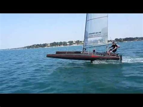 hydrofoil catamaran speed record first sailing test with 4 foils