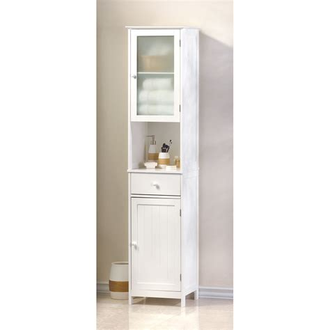 White Tall Narrow Bathroom Organizer Kitchen Storage Small Small Kitchen Cabinet Storage