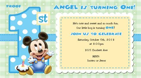 baby mickey mouse invitation template mickey mouse 1st birthday invitations for and boys