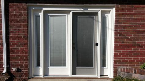 Single Glass Patio Door Smooth Fiberglass Single Swing Patio Door And Sidelites W Blinds Between Glass Doormasterstm