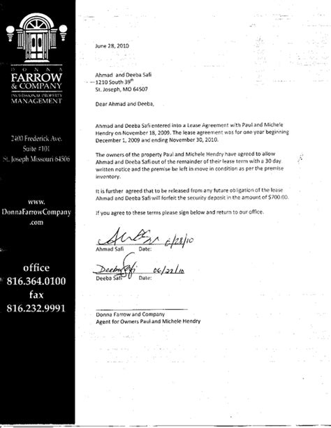 Termination Letter For Property Management Company Ripoff Report Donna Farrow Company Complaint Review