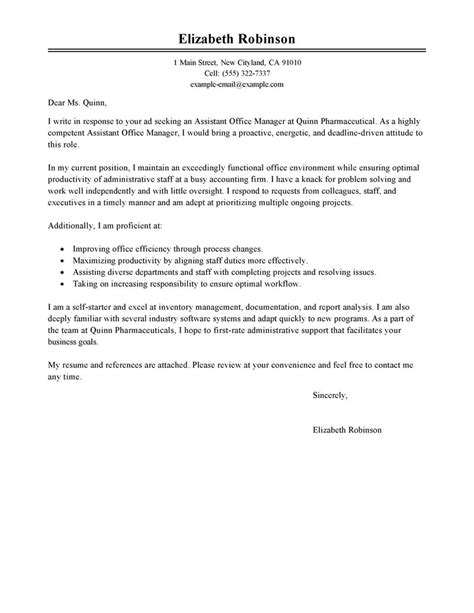 covering letter for office administrator best administrative cover letter exles livecareer