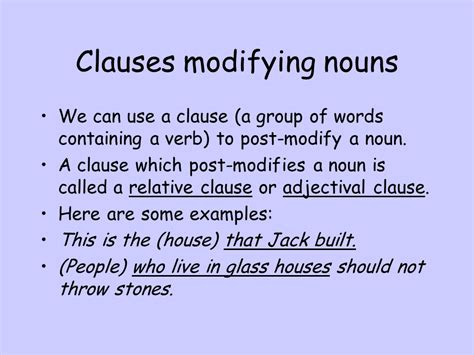 Modification Syntax by Clauses Modifying Nouns Sliderbase
