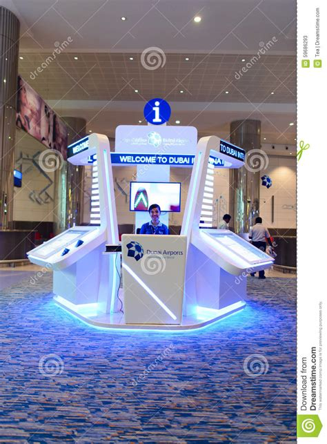 Help Desk In Dubai by Dubai International Airport Interior Editorial Stock Photo
