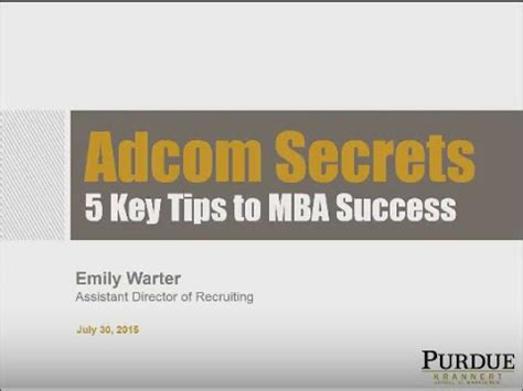 What Is Adcom Mba by Adcom Secrets 5 Key Tips To Mba Success Webinar