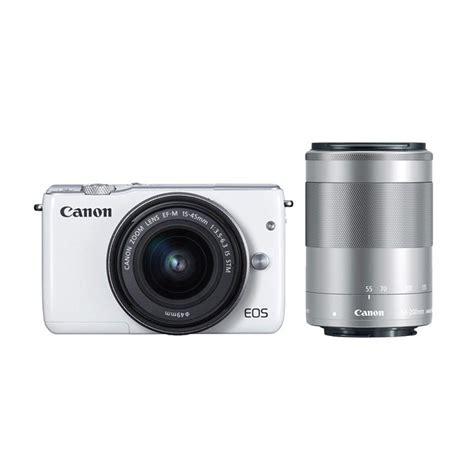 Kamera Canon M10 Mirrorless jual canon eos m10 kit ef m 15 45mm white kamera