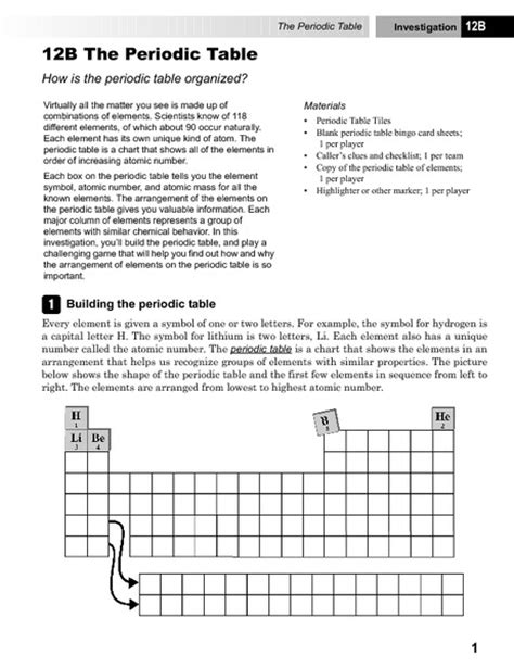 the periodic table worksheet the periodic table collection lesson planet