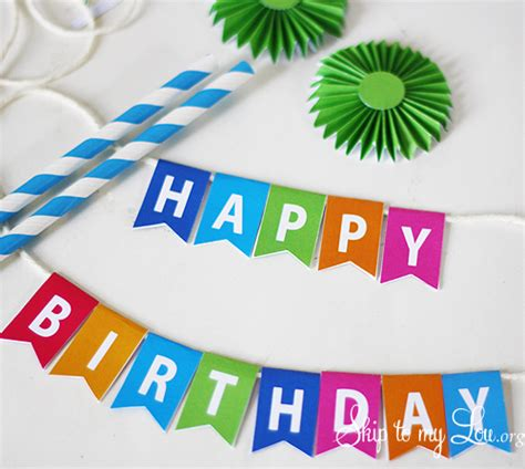 printable birthday banner cake topper birthday cake bunting skip to my lou