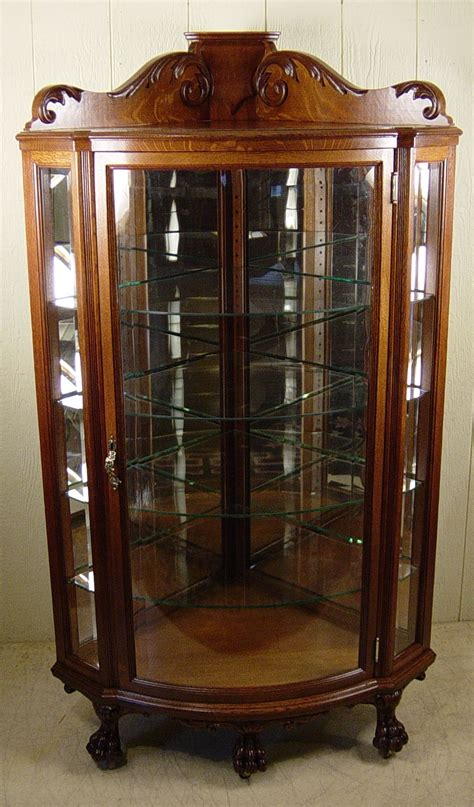 r j horner co oak corner china cabinet with beveled