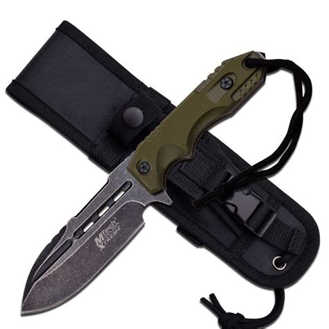 tactical knife with molle sheath mtech stonewashed green tang fixed blade tactical