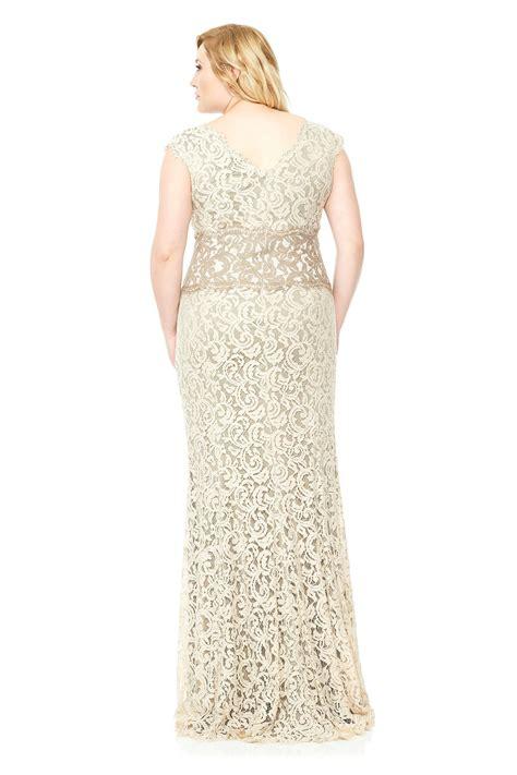 Lq 00 1183 Lace Skirt contrast lace waist gown plus size tadashi shoji
