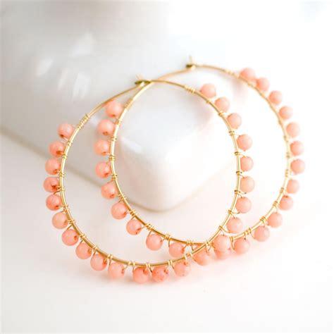 coral bead earrings coral gold hoop earrings coral beaded hoop earrings pink