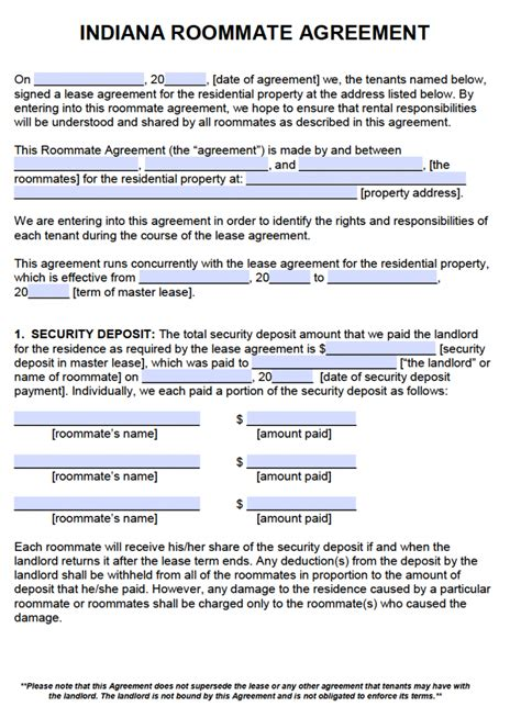 residential lease agreement templates free indiana roommate agreement template pdf word