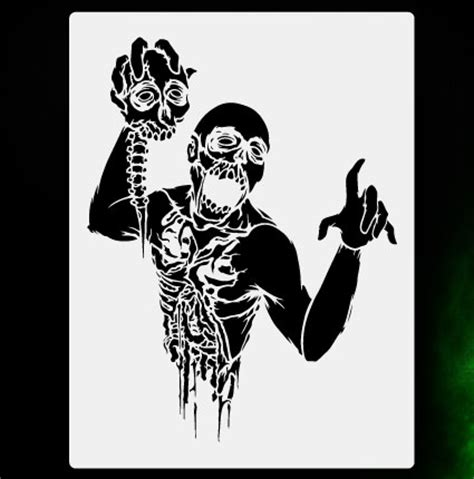printable zombie stencils zombie torso 1 airbrush stencil template airsick zombies