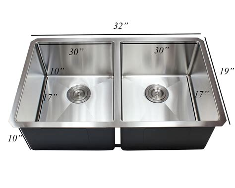 32 inch stainless steel 32 inch 16 gauge undermount double bowl 50 50 15mm radius