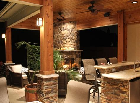 modern outdoor kitchen and fireplace design
